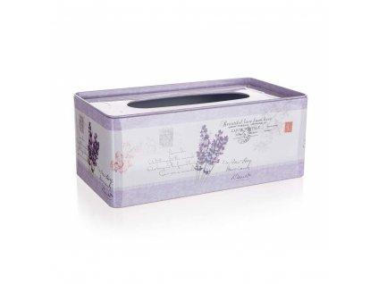 HOME DECOR Krabička na papírové kapesníky plechová LAVENDER 24 x 13 x 9,5 cm
