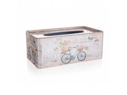 HOME DECOR Krabička na papírové kapesníky plechová BICYCLE 24 x 13 x 9,5 cm