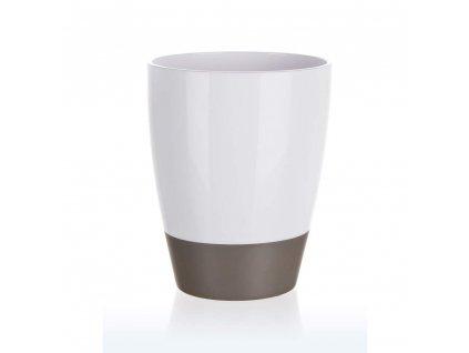 BRILANZ Kelímek na kartáčky plastový oválný 8,8 x v 11 cm, bílo-šedý