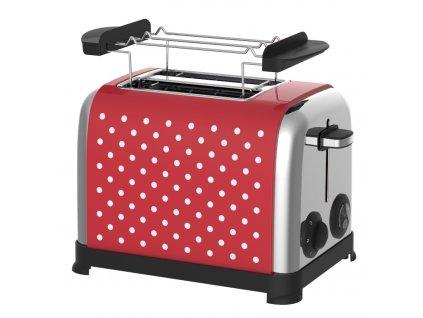 RETRO topinkovač KALORIK TO 1045 RWD N, červený s bílými puntíky