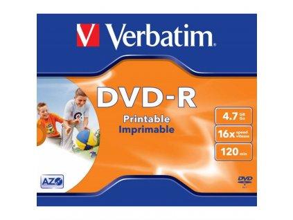Disk Verbatim DVD-R 4,7GB, 16x, printable, jewel box, 1ks