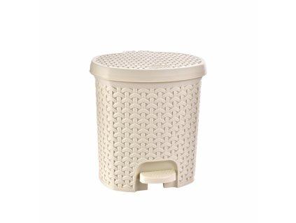 Odpadkový koš RATAN 5,5 l krémová