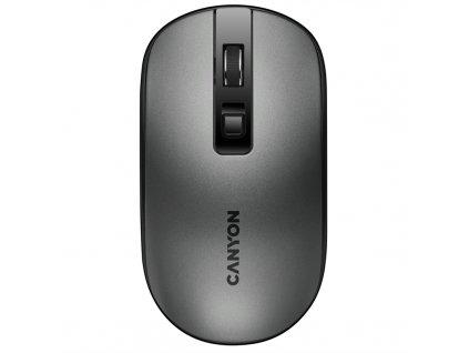 Myš Canyon CNS-CMSW18DG, tichá, bezdrátové nabíjení / optická / 4 tlačítka / 1600dpi - šedá