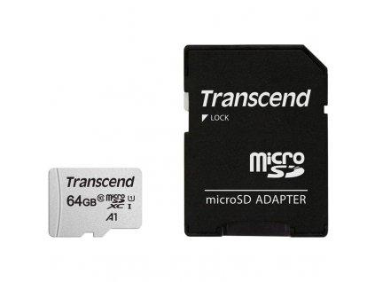 Paměťová karta Transcend 300S microSDXC 64GB UHS-I U1 (95R/25W) + adapter