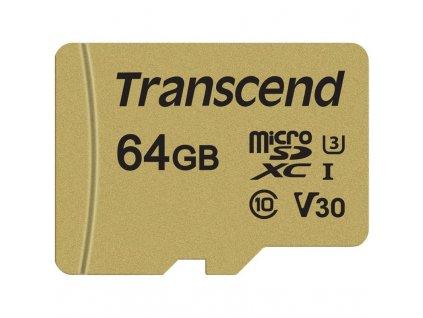 Paměťová karta Transcend 500S microSDXC 64GB UHS-I U3 (Class 10) (95R/60W) + adapter