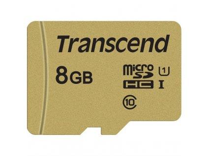 Paměťová karta Transcend 500S microSDHC 8GB UHS-I U1 (Class 10) (95R/60W) + adapter