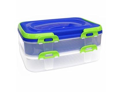 Piknikový box na potraviny s uchem Piknik, 2 patra