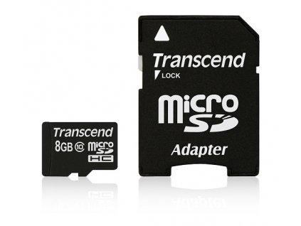Paměťová karta Transcend MicroSDHC 8GB Class10 + adapter