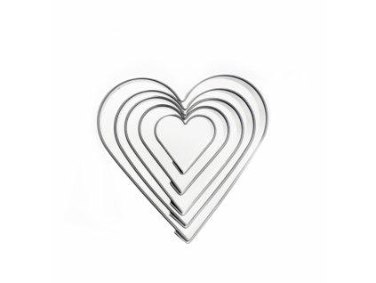 Sada nerezových vykrajovátek Srdce, 5 ks