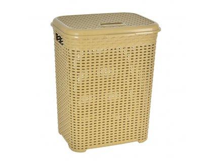 Plastový koš na prádlo s víkem Ratan Beige, 45 l