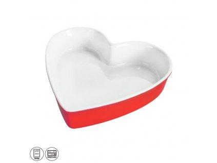 Keramická pečící forma Srdce, 26,5 x 25,5 cm