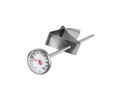 Nerezový kuchyňský teploměr s klipem, délka 14 cm