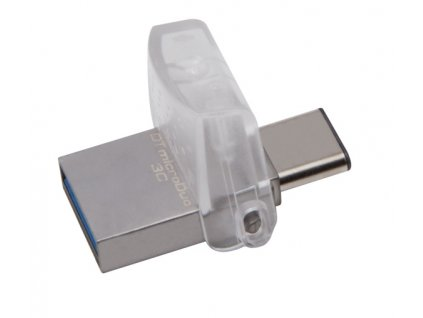 Flash USB Kingston DataTraveler MicroDuo 3C 64GB OTG USB-C/USB 3.1 - stříbrný