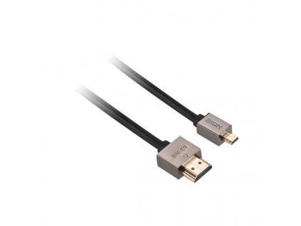 Kabel GoGEN HDMI / HDMI micro, 1,5m, v1.4, pozlacený, High speed, s ethernetem