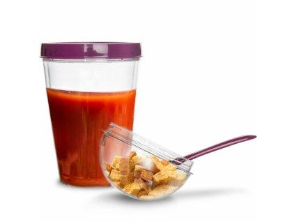 Plastový pohár na jogurt s víčkem a lžičkou, 0,33 l