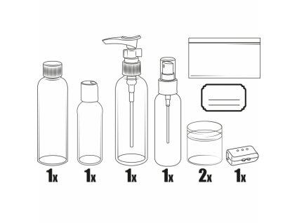 Souprava plastových lahviček a dóz na kosmetiku, 5 dílů