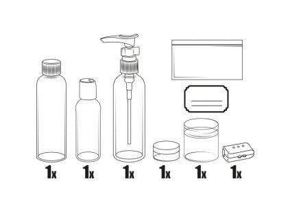 Souprava plastových lahviček a dóz na kosmetiku, 6 dílů