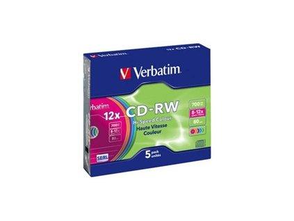 Disk Verbatim CD-RW DL 700MB/80min. 8x-12x, colors, slim box, 5ks