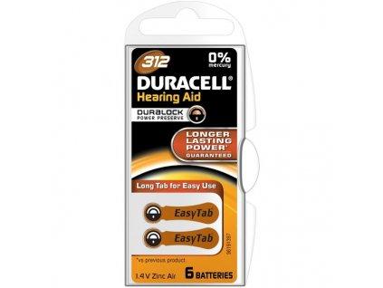 Baterie do naslouchadel Duracell Duralock DA312, blistr 2ks