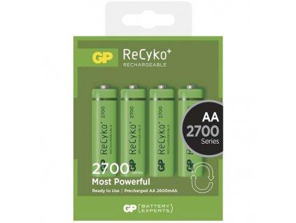 Baterie nabíjecí GP ReCyko+ AA, HR06, 2700mAh, Ni-MH, krabička 4ks