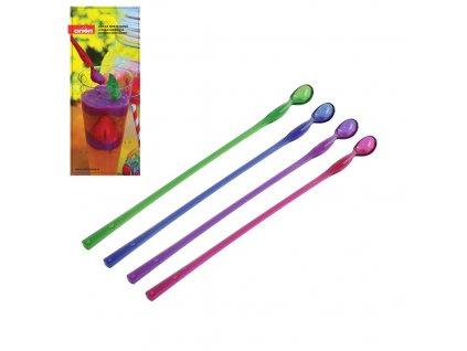Plastová koktejlová lžička délky 26 cm, 4 ks