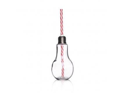 Sklenice s víčkem a brčkem ve tvaru žárovky Straw 0,2 l