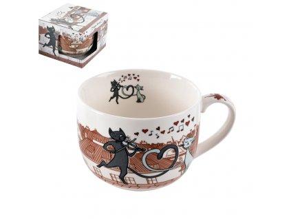Porcelánový hrnek Kočky ve městě, 0,5 l