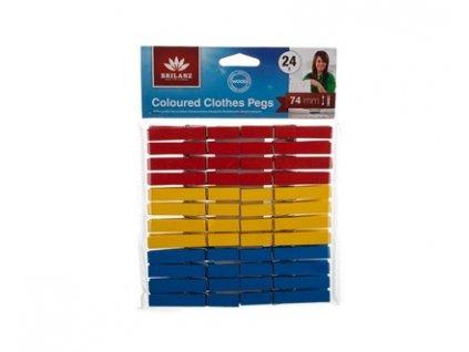 BRILANZ Sada dřevěných barevných kolíčků, 24 ks