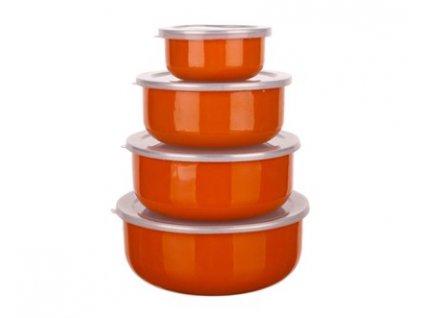BANQUET Sada smaltovaných misek BELLY, 8 ks, oranžové