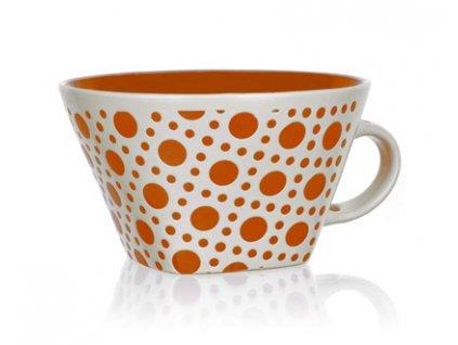 BANQUET Hrnek jumbo keramický square 500 ml, oranžový s puntíky