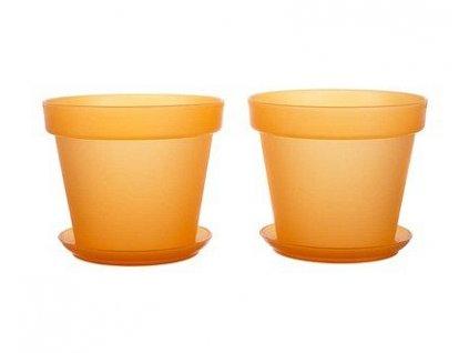Sada květník + podmiska plastová 4-dílná Patio Soft Oranž