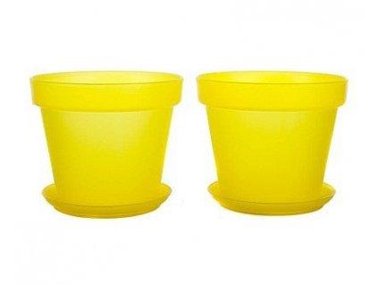 Sada květník + podmiska plastová 4-dílná Patio Soft žlutá