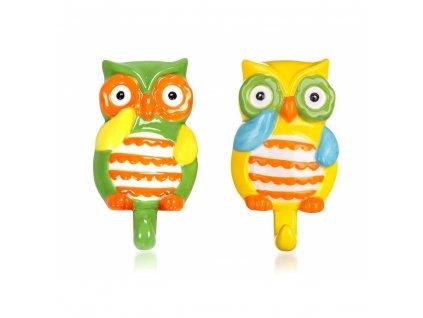 BANQUET Sada keramických háčků OWL 10,5 x 6,6 x 2,7 cm, 2 ks