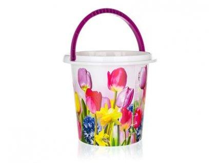 BRILANZ Kbelík plastový 10 l, 29 x 27,5 cm, tulipány