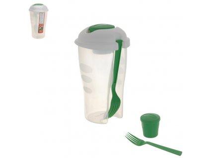 Plastová dóza s vidličkou na salát, výška 19 cm
