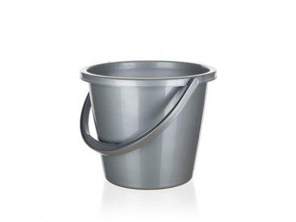 BRILANZ Kbelík plastový 10 l, stříbrný