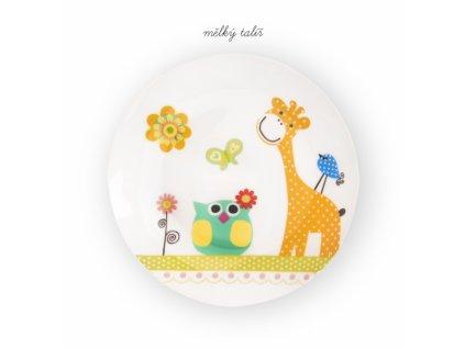 Dětská porcelánová jídelní sada Žirafa, 3 ks