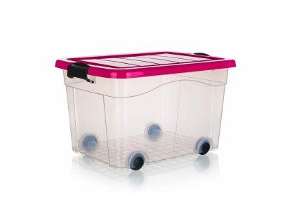 BRILANZ Box úložný na kolečkách PYRAMIDA 40 l, růžový