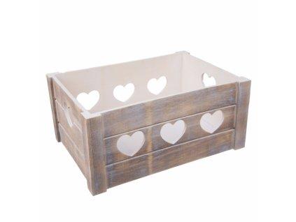 Dřevěná dekorativní bedýnka Srdce, 36 x 26 x 16 cm