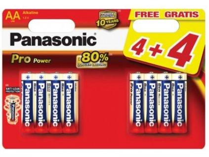 Baterie alkalická Panasonic Pro Power AA, LR06, blistr 4+4ks