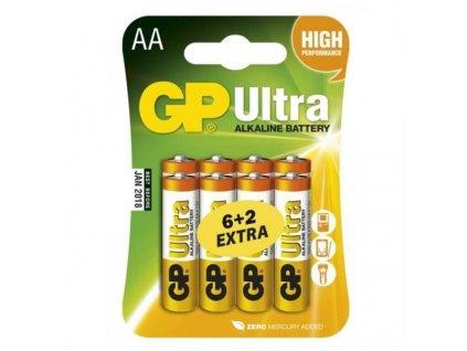 Baterie alkalická GP Ultra AA, blistr 6+2 ks