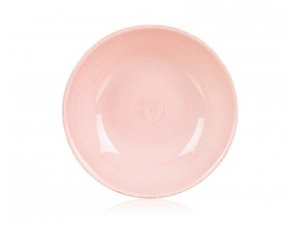 BANQUET Talíř keramický hluboký AMANDE 21 cm, růžový s žíháním, lesk