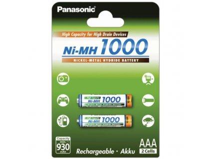 Baterie nabíjecí Panasonic AAA, HR03, 1000mAh, Ni-MH, blistr 2ks