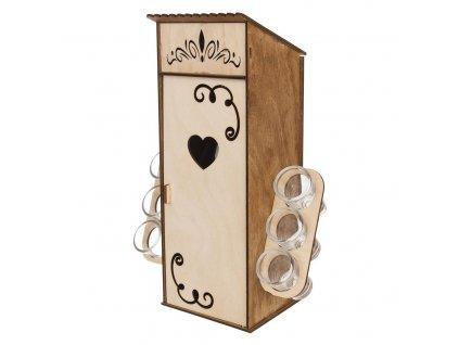 Stojan dřevo BUDKA+láhev sk. 1 l+odlivka sk. 6 ks