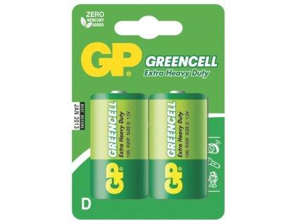 Baterie zinkochloridová GP Greencell D, R20, blistr 2ks