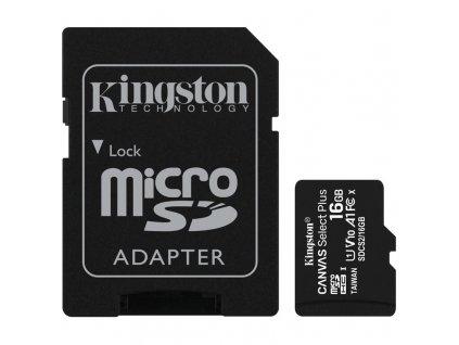 Paměťová karta Kingston Canvas Select Plus MicroSDHC 16GB UHS-I U1 (100R/10W) + adapter