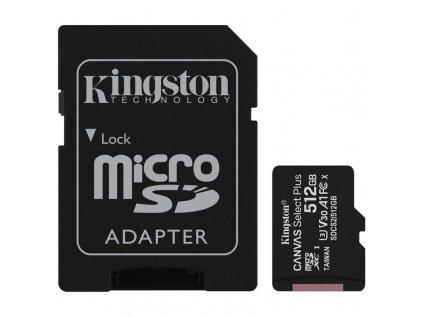 Paměťová karta Kingston Canvas Select Plus MicroSDXC 512GB UHS-I U1 (100R/85W) + adapter
