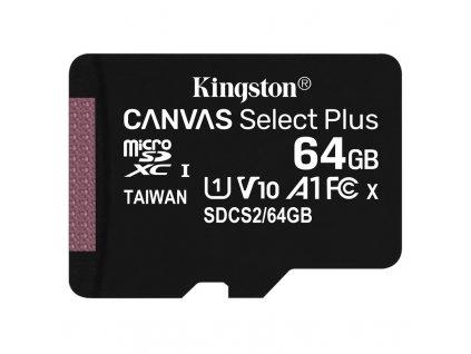 Paměťová karta Kingston Canvas Select Plus MicroSDXC 64GB UHS-I U1 (100R/10W)
