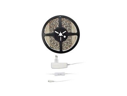 LED pásek Solight 4,8 W/m, teplá bílá 3000K, adaptér s vypínačem