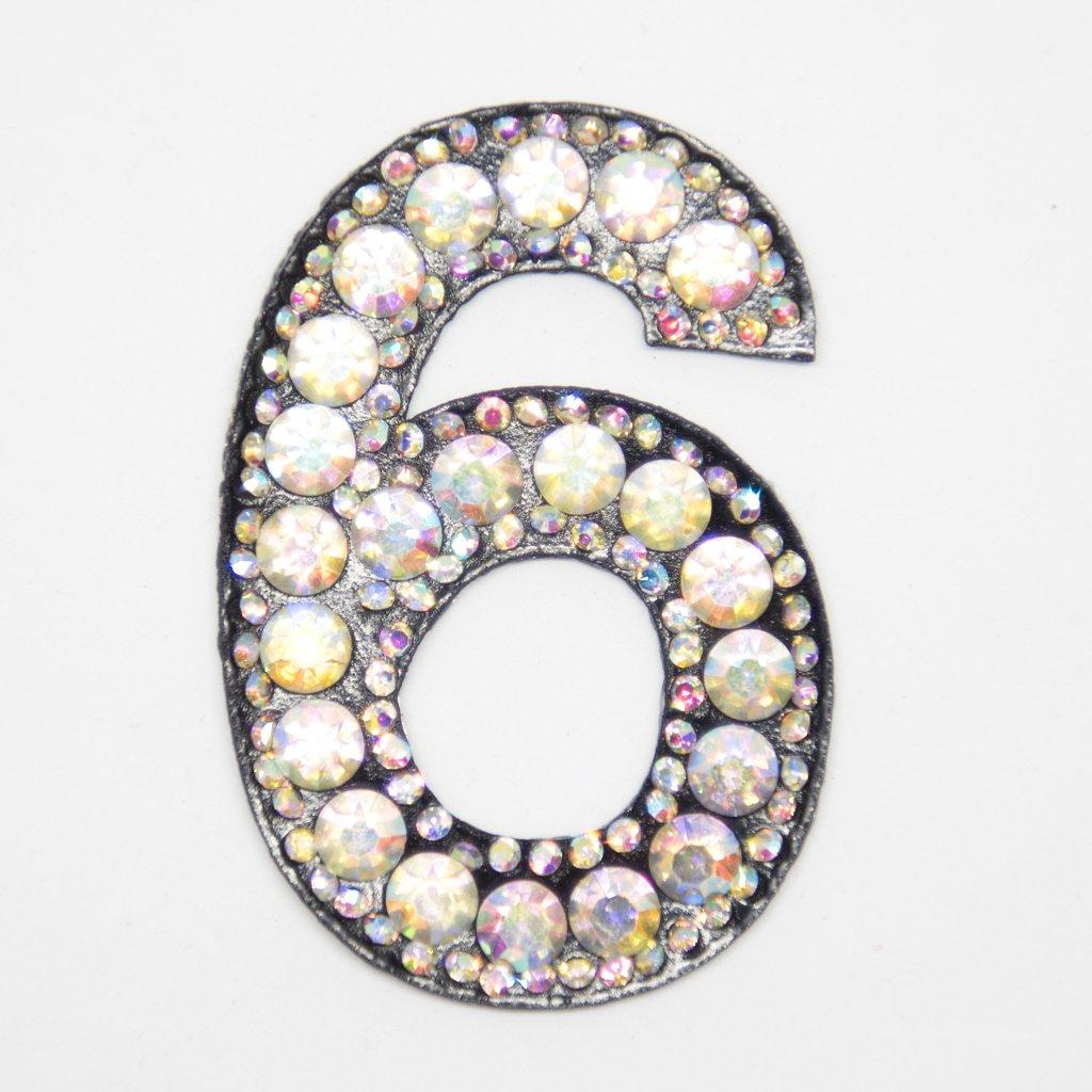 Číslice 6 třpitivá s kamínky nášivka